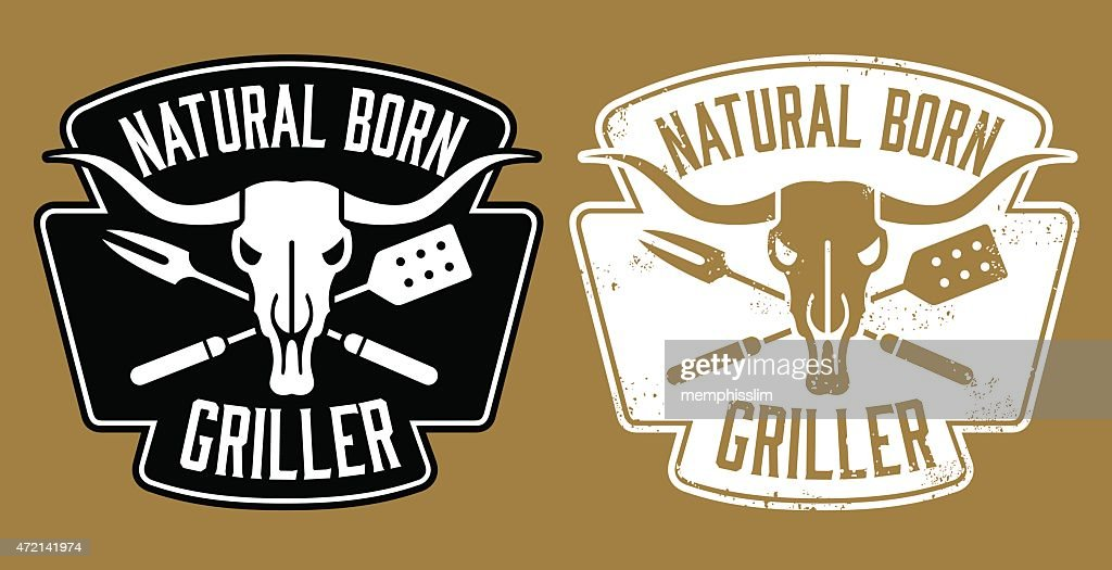 Natural Born Griller barbecue vector image with cow skull