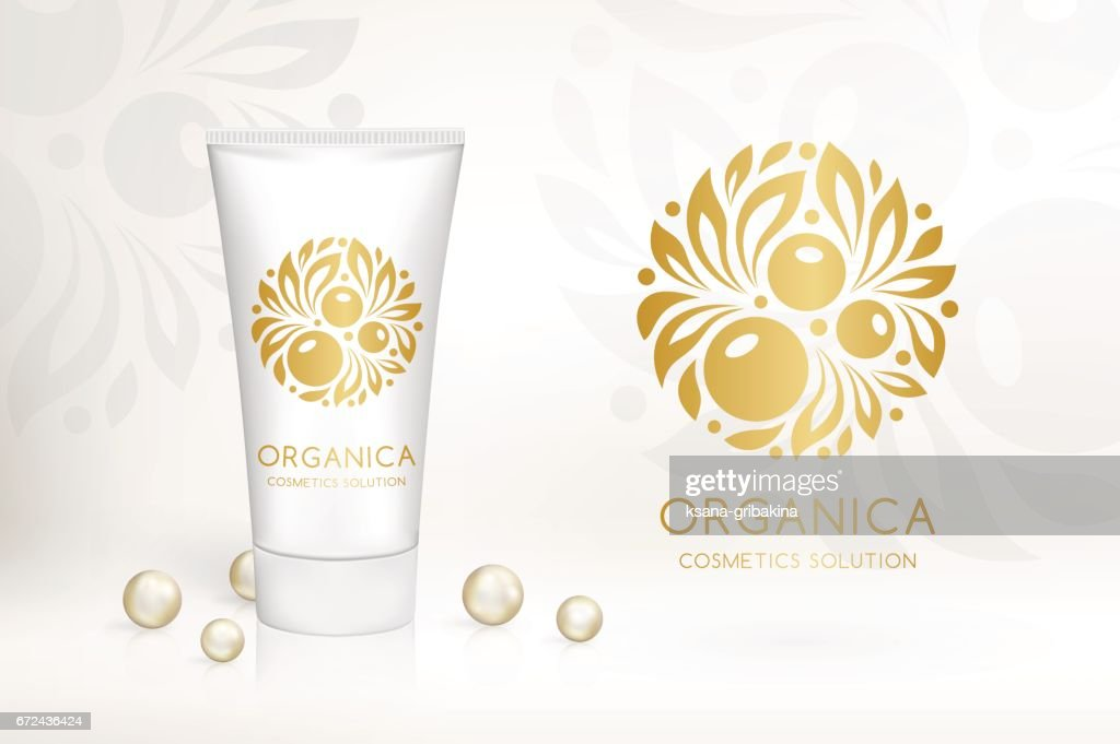 Natural cosmetics logo. Berry with leaves.