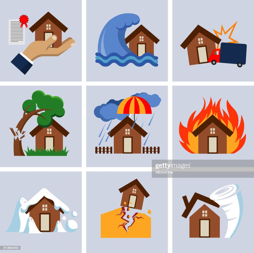 Natural disaster, house insurance business service vector icons.