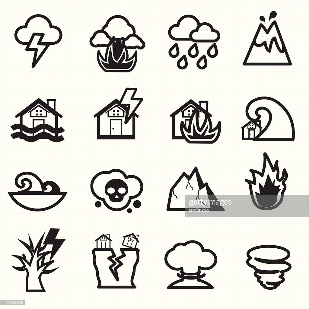 Natural disaster icons vector