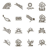 Natural Disaster Signs Black Thin Line Icon Set. Vector