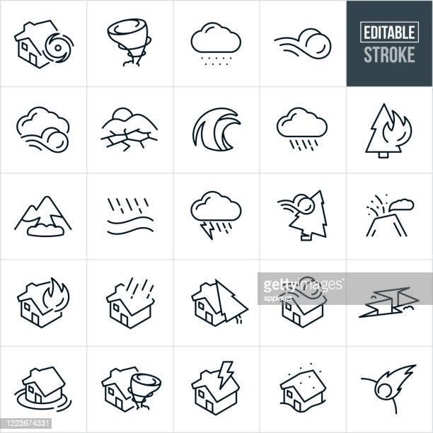 ilustraciones, imágenes clip art, dibujos animados e iconos de stock de iconos de línea fina de desastre natural - trazo editable - tiempo atmosférico