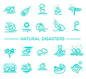 Natural Disaster, Vector illustration of thin line icons