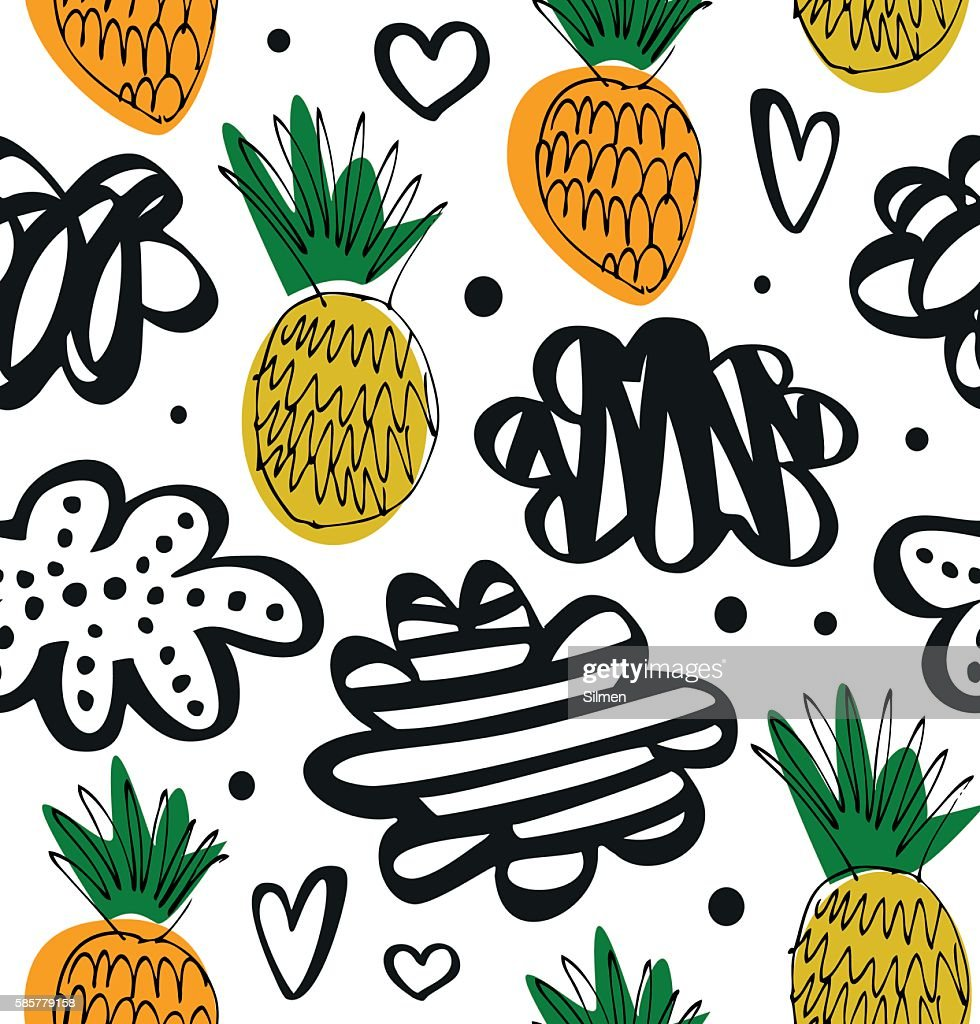 Natural drawn pattern with pineapples