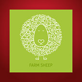 Natural Eco Hand Drawn Outline Sheep