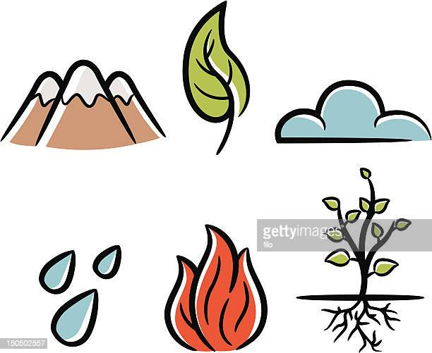 natural elements - the four elements stock illustrations