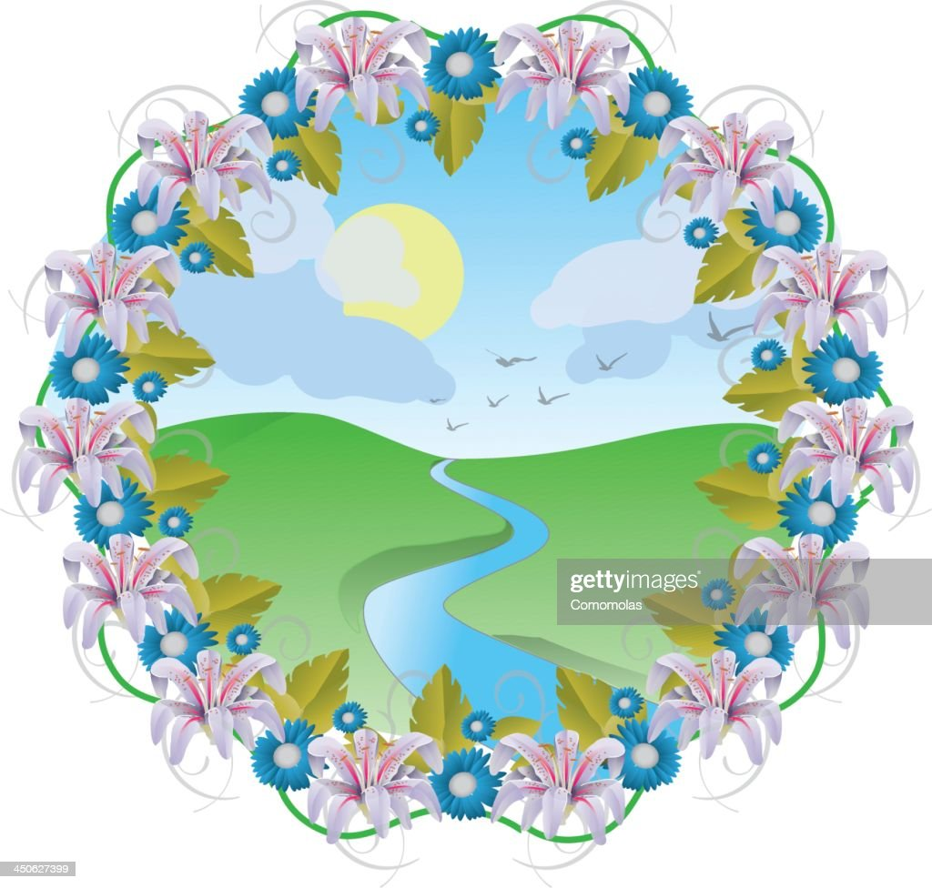 Natural flower crown and landscape vector art getty images natural flower crown and landscape vector art izmirmasajfo
