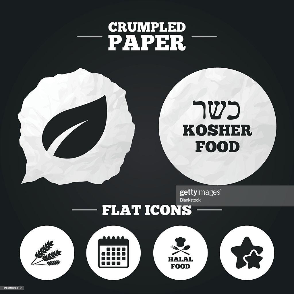 Natural food icons. Halal and Kosher signs.