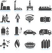 Natural Gas black & white royalty free vector icon set