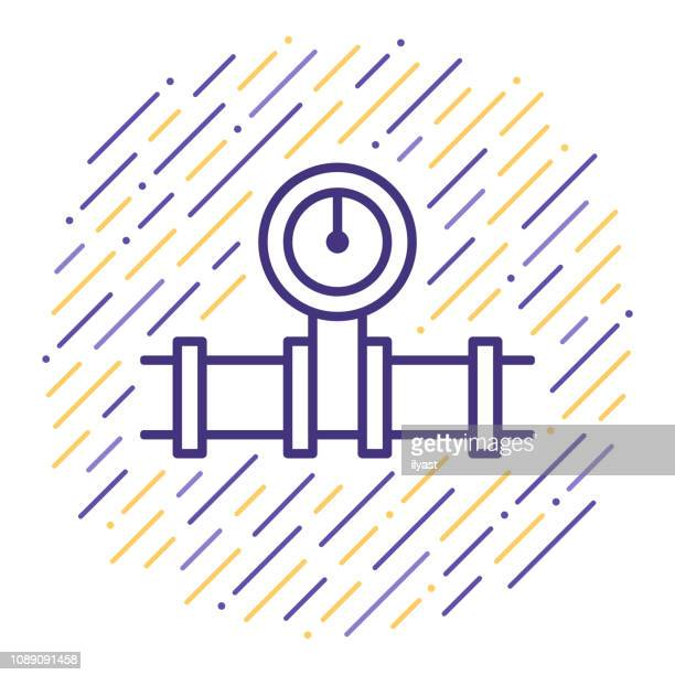 natural gas distribution vector line icon illustration - air valve stock illustrations, clip art, cartoons, & icons