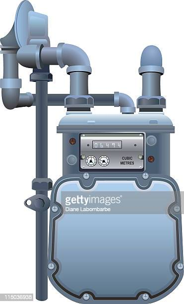 natural gas meter with copy space on the front - gas meter stock illustrations, clip art, cartoons, & icons