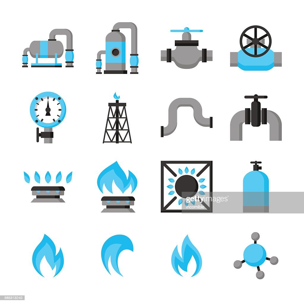 Natural gas production, injection and storage. Set of objects