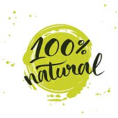 100% natural green lettering sticker