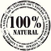 %100 natural grunge rubber stamp background