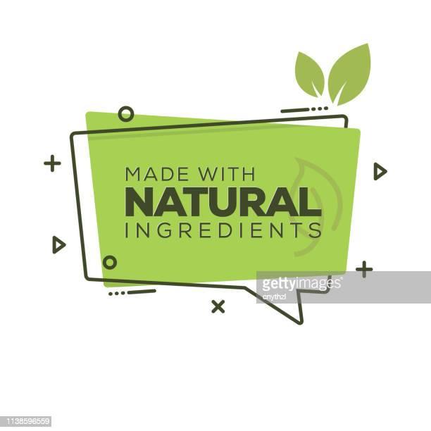 天然成分バッジ - 健康的な食事点のイラスト素材/クリップアート素材/マンガ素材/アイコン素材