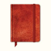 Natural Leather Notebook. Copybook With Band And Bookmark