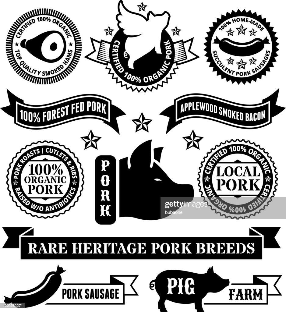 Natural Organic Pork Badges & Banners : stock illustration