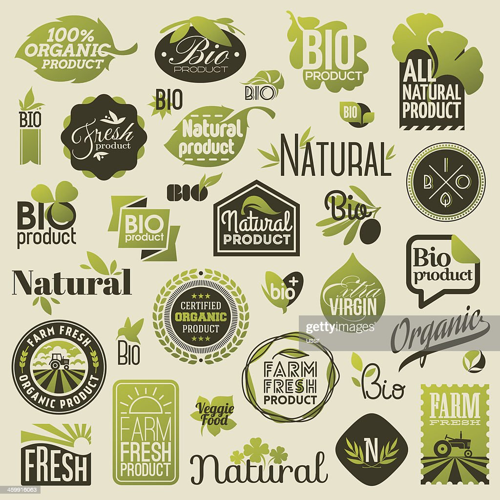 Natural organic product labels, emblems and badges