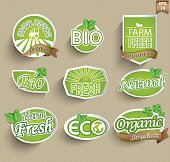 Natural organic product labels, emblems and badges.