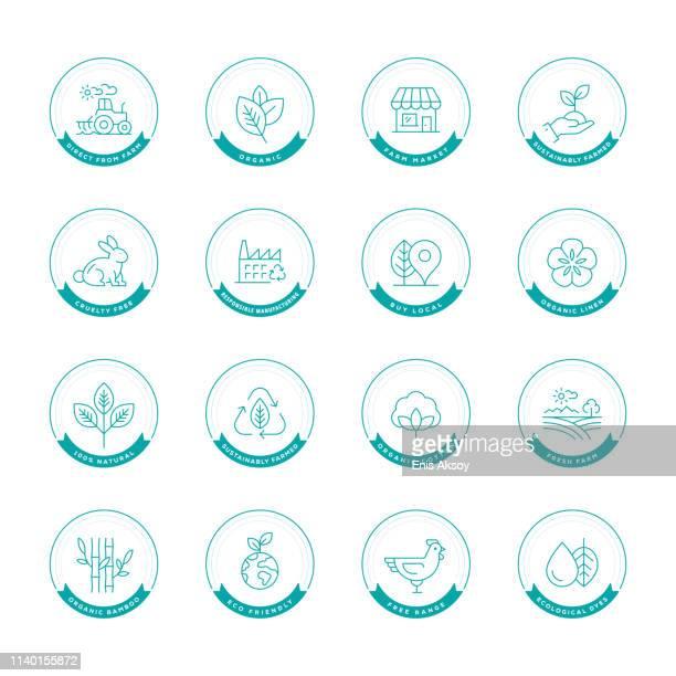 naturprodukt label set - färbemittel stock-grafiken, -clipart, -cartoons und -symbole