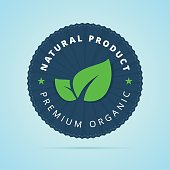 Natural product, premium organic badge.
