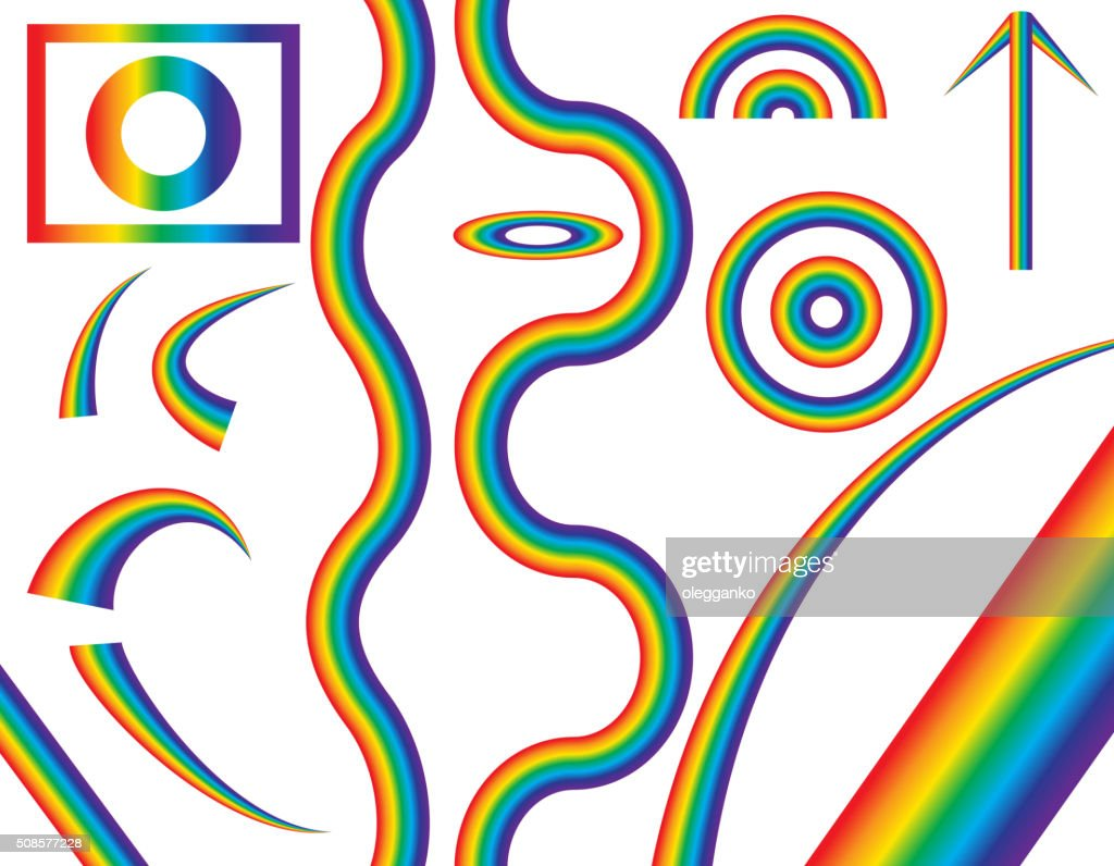 Natural Rainbow of Different Shapes. Vector Illustration : Vector Art