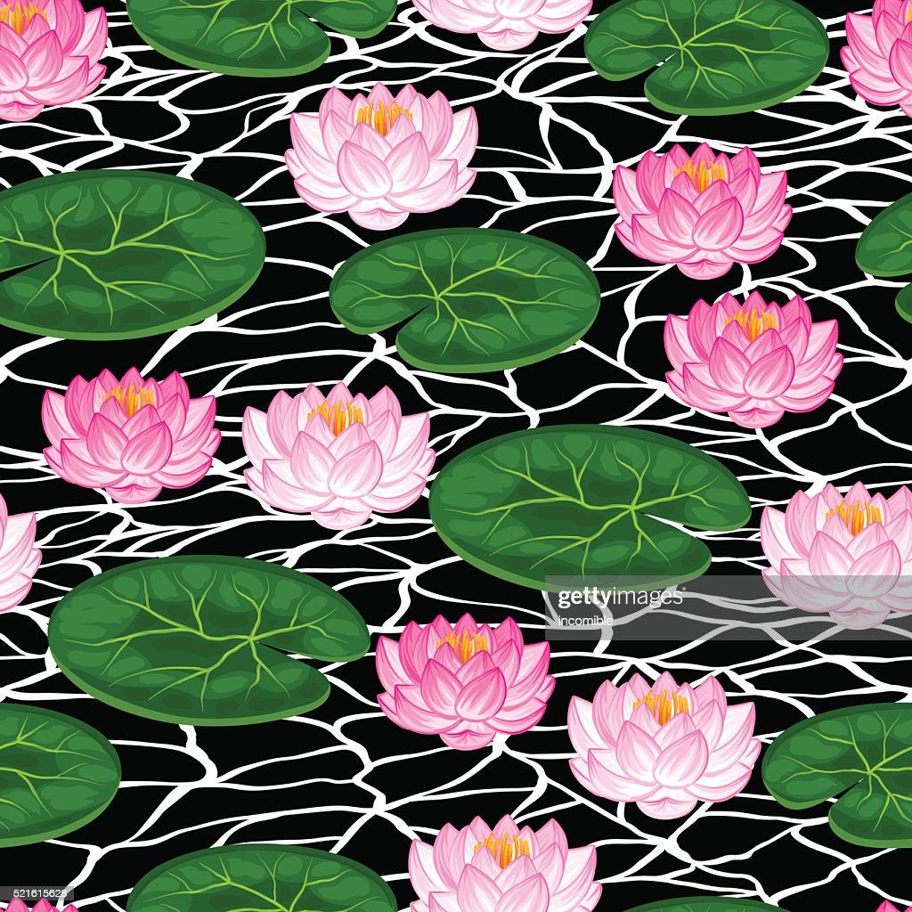 Natural seamless pattern with lotus flowers and leaves background natural seamless pattern with lotus flowers and leaves background made vector art izmirmasajfo