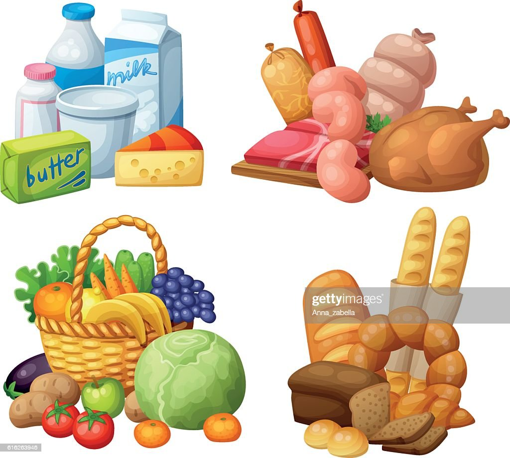 Natural supermarket food sets: Dairy products, Meat sausages chicken, Grocery : Vector Art