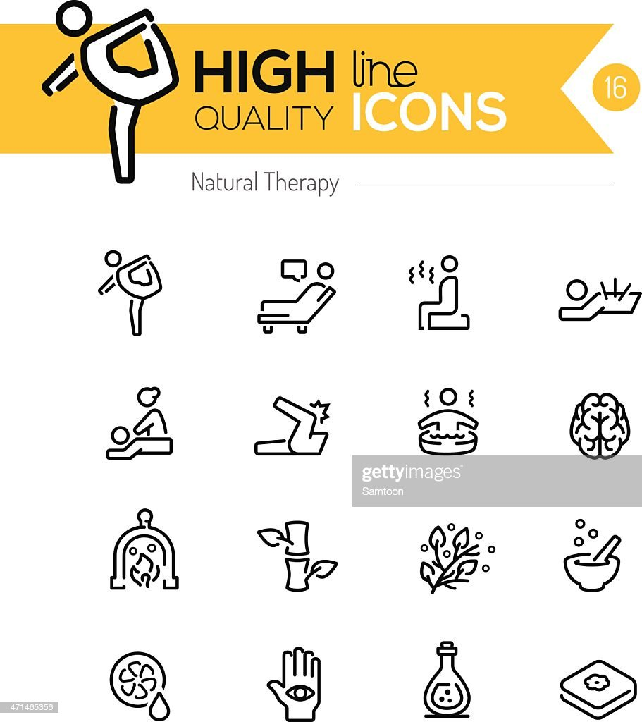 Natural Therapy line icons series