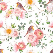 Natural vector seamless pattern with cute robin birds
