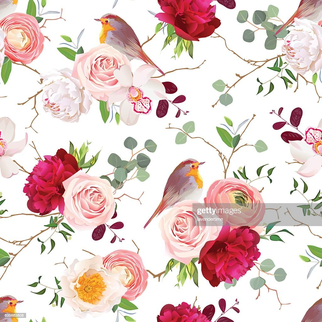 Natural vector seamless pattern with robin birds