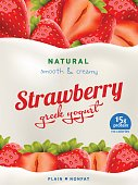 Natural Yogurt ads or packaging design. Illustration of zero fat healthy dairy product with sliced strawberry and flavor