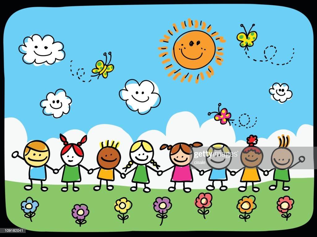 Nature and children cartoon