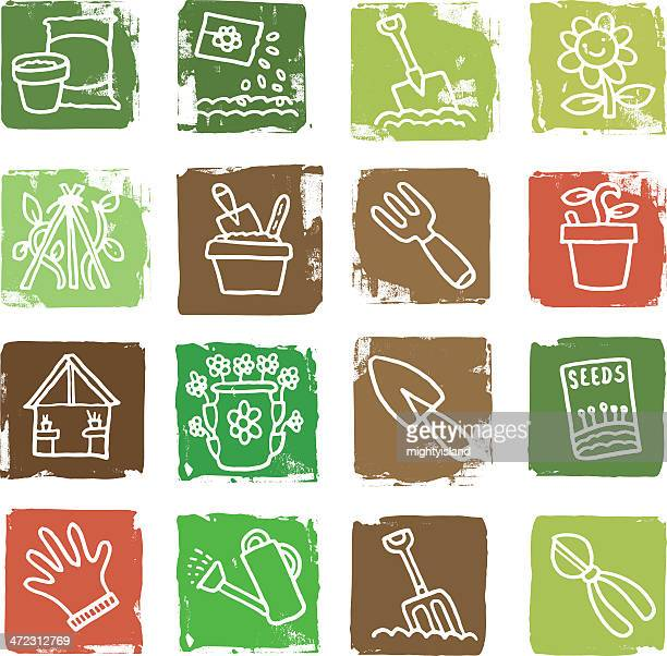 Nature and gardening grunge icon blocks