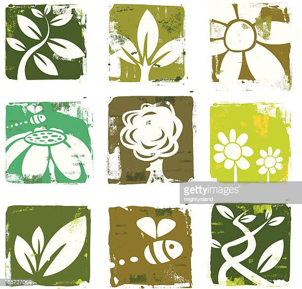 nature and plant icons - woodcut stock illustrations