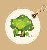 Nature banner, Eco organic labels and cards with Abstract trees.