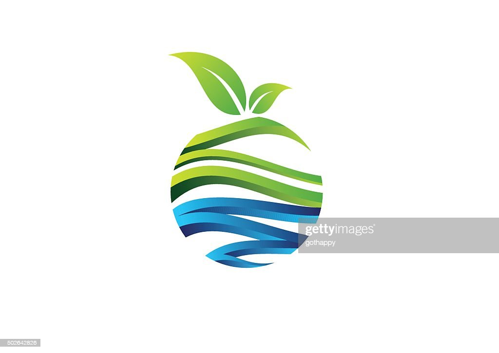 nature circle plant concept logo fruit symbol icon vector design