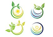 nature circle plant logo, global nature symbol icon vector design