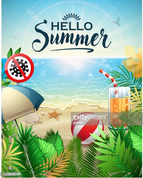 stockillustraties, clipart, cartoons en iconen met natuurreiniging hygiëne strand - corona zon