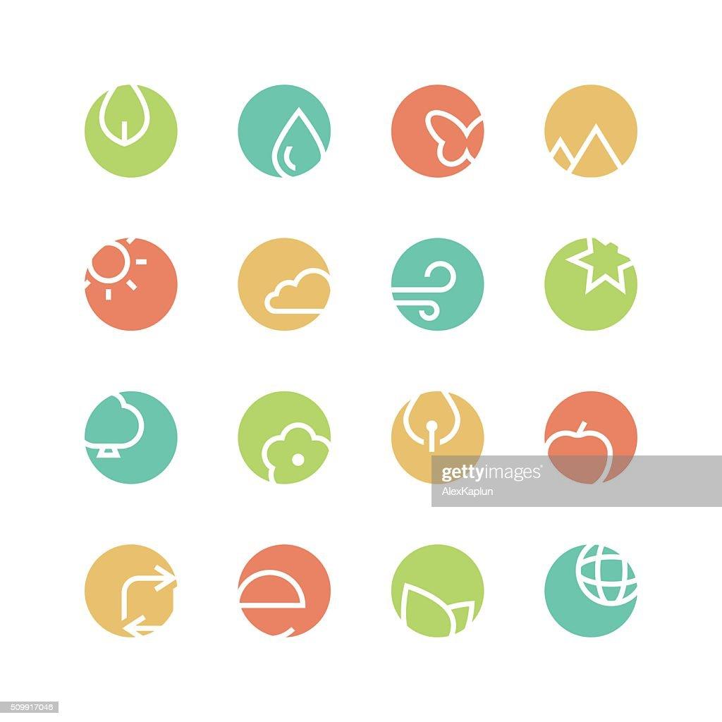 Nature colored icon set