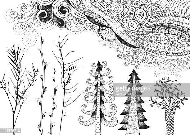 nature doodles - tree bark stock illustrations, clip art, cartoons, & icons