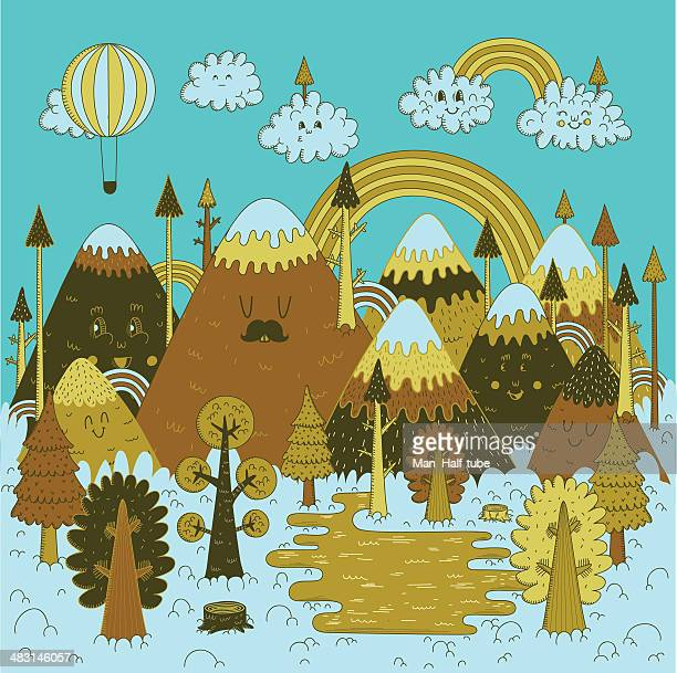 nature doodles - christmas travel stock illustrations, clip art, cartoons, & icons