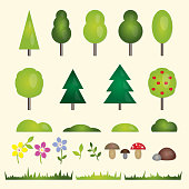 Nature elements set. Forest and garden flat symbols of the landscape: trees, fir-trees, spruce, bushes, grass, stones, flowers and mushrooms. Colorful vector icons.