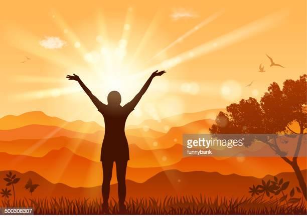 ilustraciones, imágenes clip art, dibujos animados e iconos de stock de la naturaleza emoción - puesta de sol