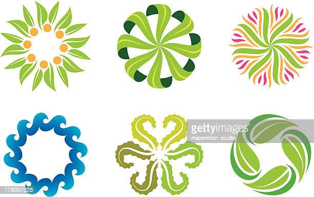 Nature flower decoration symbol and social green logo template