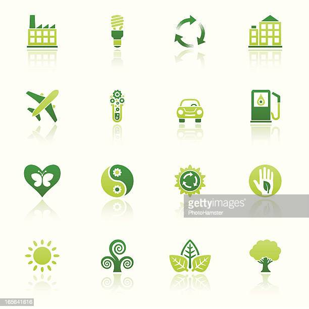 nature friendly icon set eco reflection ii - hybrid car stock illustrations, clip art, cartoons, & icons