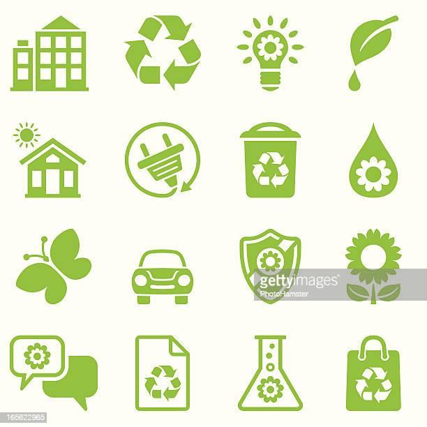 ilustrações, clipart, desenhos animados e ícones de verde natureza amigável conjunto de ícones - produto local
