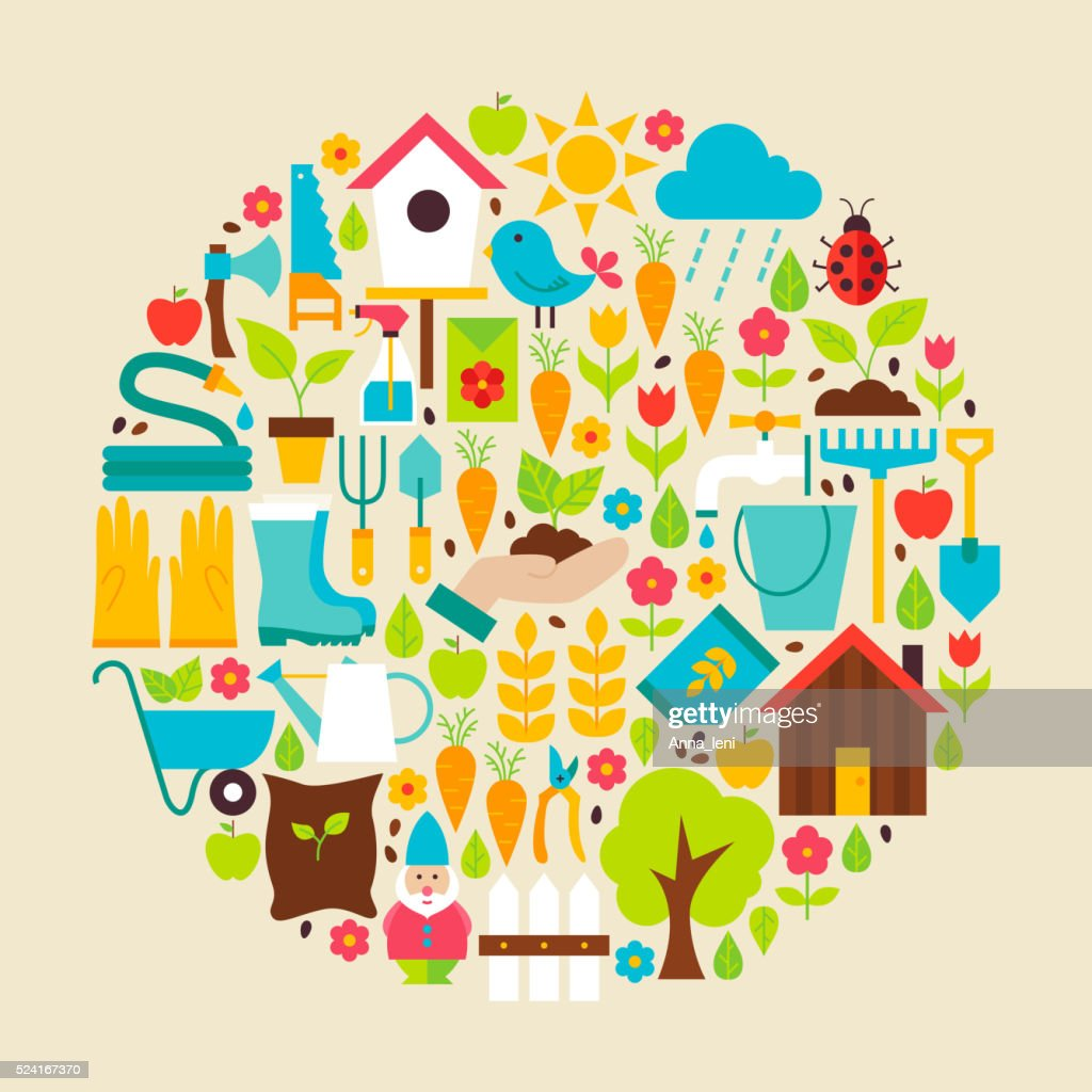 Nature Garden Tools Vector Flat Circle Objects Set