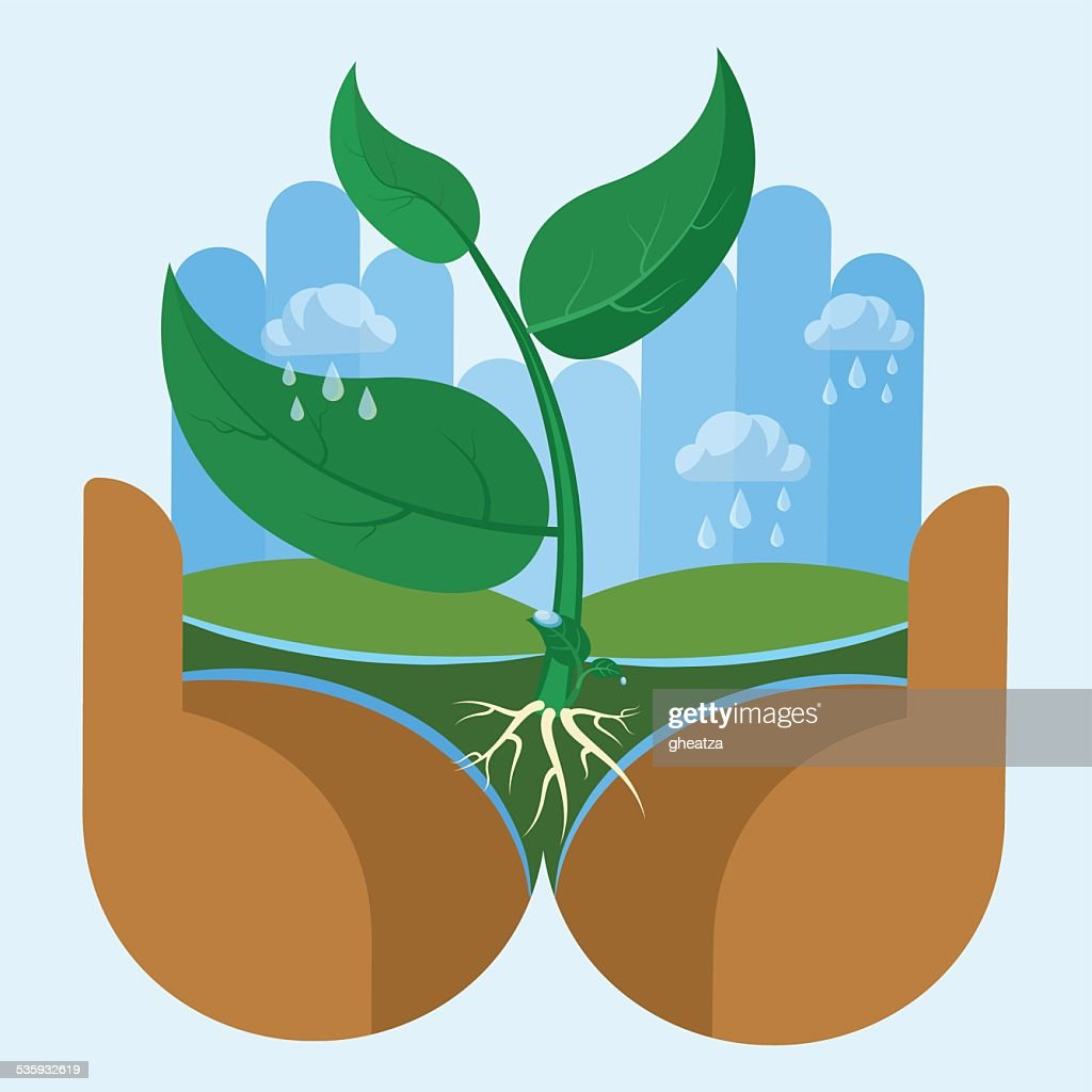 Nature Hand, Taking Care of Nature : Vector Art