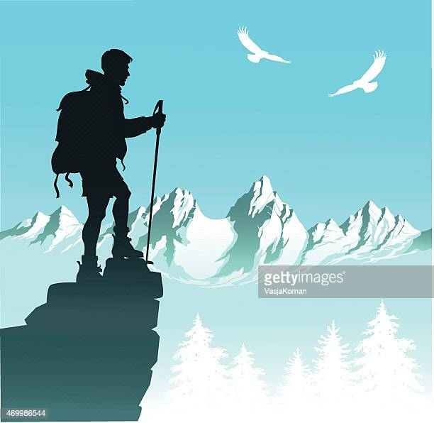 Nature Hiker With Mountain Range and Eagles